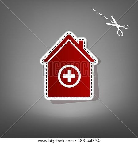 Hospital sign illustration. Vector. Red icon with for applique from paper with shadow on gray background with scissors.