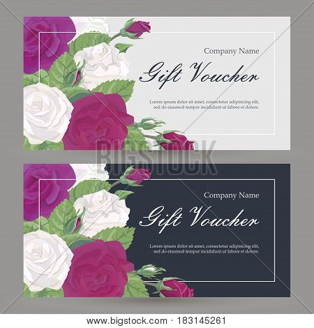 Vector gift voucher floral pattern with flowers. Bordeaux and red roses with leaves and buds. Concept boutique, jewelry, flower shop, beauty salon, spa, fashion, for flyer, banner, business card