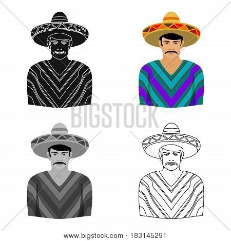 Mexican man in sombrero and poncho icon in cartoon style isolated on white background. Mexico country symbol vector illustration.