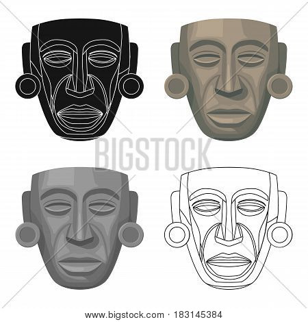 Mayan mask icon in cartoon style isolated on white background. Mexico country symbol vector illustration.