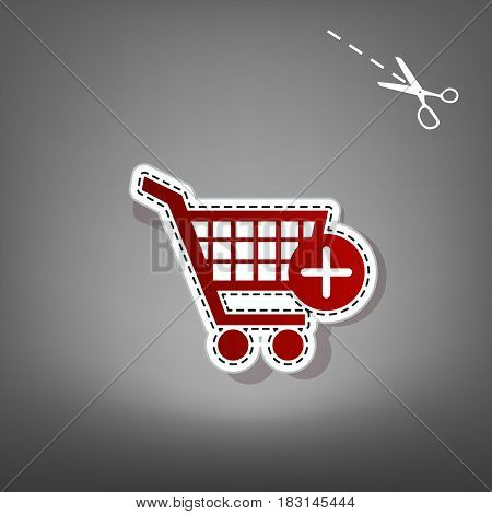 Shopping Cart with add Mark sign. Vector. Red icon with for applique from paper with shadow on gray background with scissors.