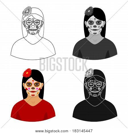 Mexican woman with calavera make up icon in cartoon style isolated on white background. Mexico country symbol vector illustration.