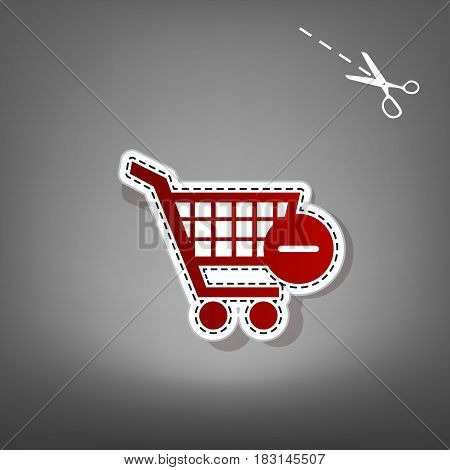Vector Shopping Cart with Remove sign. Vector. Red icon with for applique from paper with shadow on gray background with scissors.