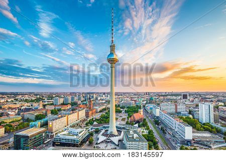 Berlin Skyline Panorama With Famous Tv Tower At Alexanderplatz At Sunset, Germany