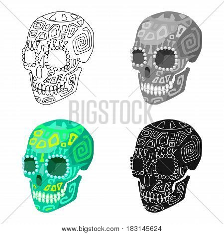 Mexican calavera skull icon in cartoon style isolated on white background. Mexico country symbol vector illustration.
