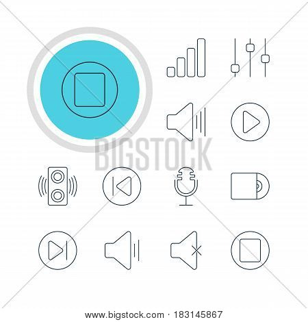 Vector Illustration Of 12 Melody Icons. Editable Pack Of Start, Stabilizer, Volume Up And Other Elements.