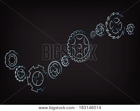 Vector Set Of Different Gearwheels, Rackwheels And Cogwheels