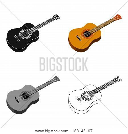 Mexican acoustic guitar icon in cartoon style isolated on white background. Mexico country symbol vector illustration.