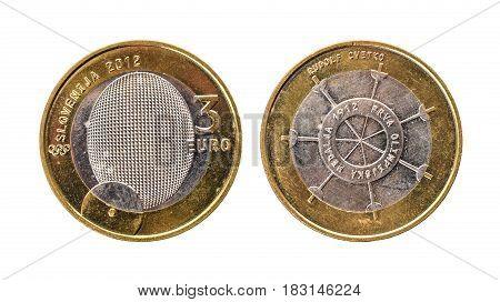 Used Commemorative Anniversary Bimetal 3 Euro € Slovenia Coin 2012.