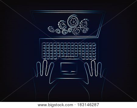 Laptop With Complex Gearwheel Mechanism On The Screen