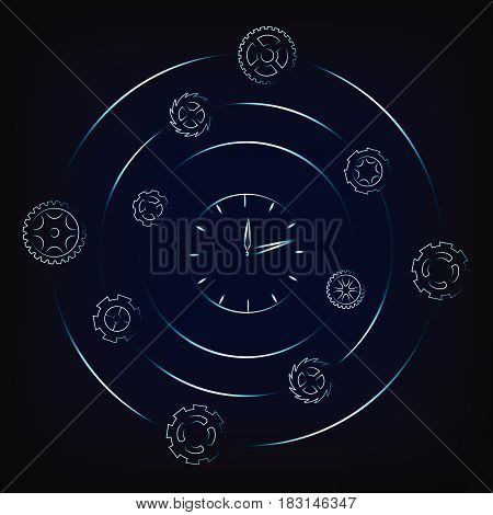 clock surrounded by spinning gearwheels and cogwheels, concept of scheduling and time management (vector illustration with neon effect on mesh background)