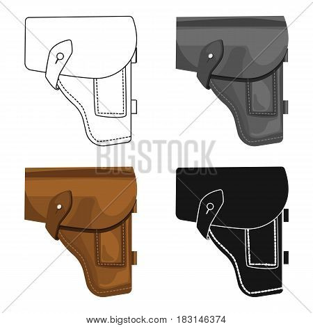 Army handgun holster icon in cartoon style isolated on white background. Military and army symbol vector illustration