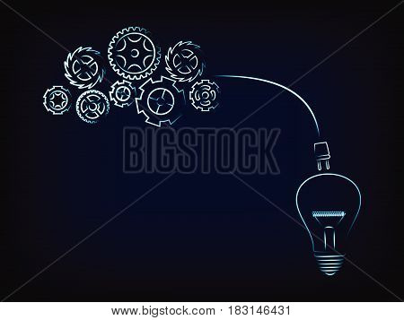 complex gearwheels mechanism connected to a lightbulb through a plug, concept of elaborating ideas (vector illustration with neon effect on mesh background)