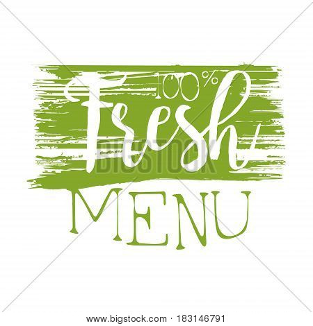 Fresh menu green label. Vector illustration for vegetarian restaurant, vegan cafe menu, summer menu, veggie food, restaurant menu, organic shop