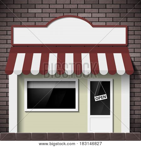 Facade of the building shop with a signboard and a showcase. Stock vector illustration.