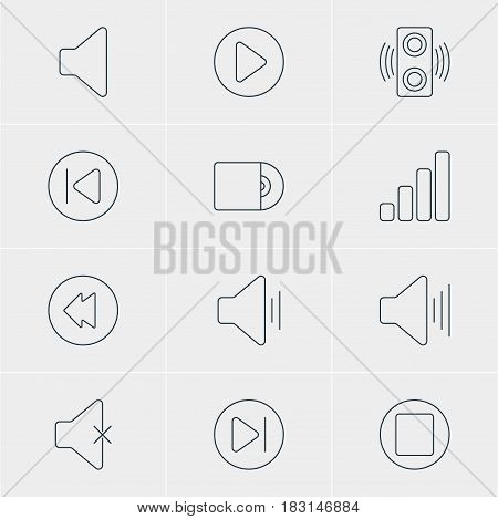 Vector Illustration Of 12 Melody Icons. Editable Pack Of Pause, Speaker, Subsequent And Other Elements.
