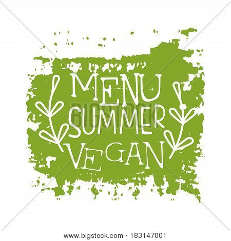 Menu summer vegan green label. Vector illustration for vegetarian restaurant, vegan cafe menu, summer menu, veggie food, restaurant menu, organic shop
