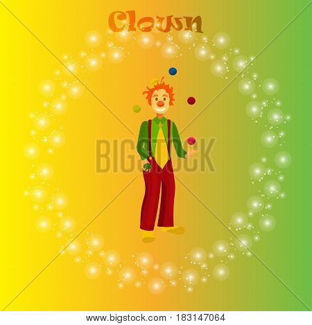 Very high quality trendy vector illustration of happy juggling circus clown.