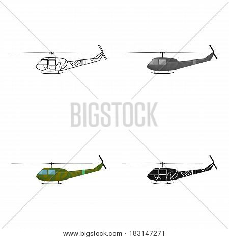 Military helicopter icon in cartoon style isolated on white background. Military and army symbol vector illustration