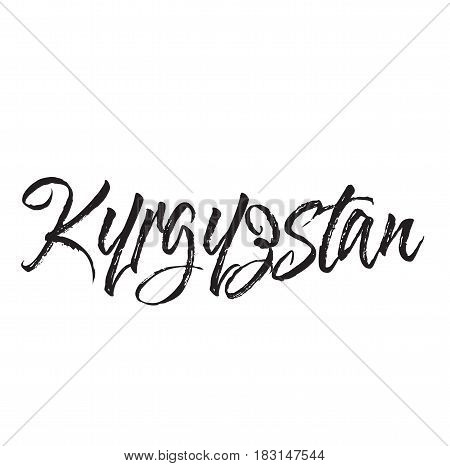 kyrgyzstan, text design. Vector calligraphy. Typography poster. Usable as background.