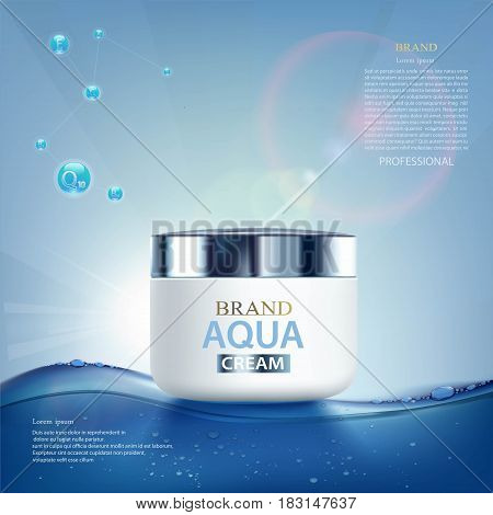 Moisturizing cream with vitamins aqua and coenzyme. Cosmetic ads template. Stock vector illustration.