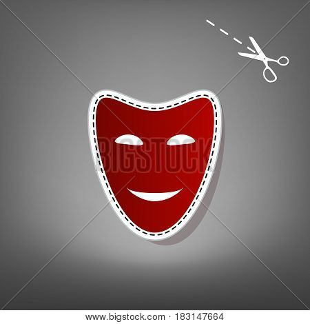 Comedy theatrical masks. Vector. Red icon with for applique from paper with shadow on gray background with scissors.