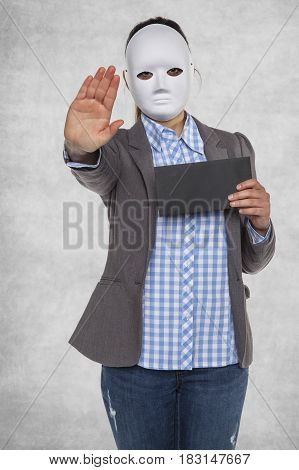 Stop bribe woman in the mask, business person