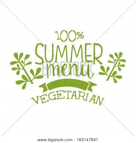 Summer menu green label. Vector illustration for vegetarian restaurant, vegan cafe menu, summer menu, veggie food, restaurant menu, organic shop