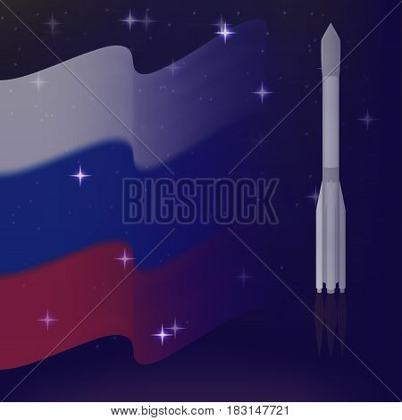 vector Russia space power. soaring into the sky rocket. starry sky. flying the flag. the transition of fading gradient