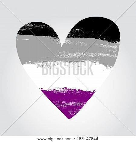 Asexual Pride Flag In A Form Of Heart With