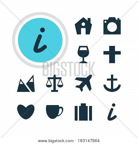 Vector Illustration Of 12 Location Icons. Editable Pack Of Briefcase, Scales, Wineglass And Other Elements.