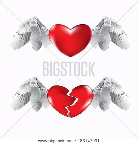 Red heart and broken red heart with flying wings on white background. Vector illustration.