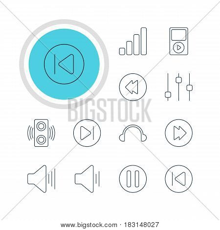 Vector Illustration Of 12 Melody Icons. Editable Pack Of Mp3, Reversing, Subsequent And Other Elements.