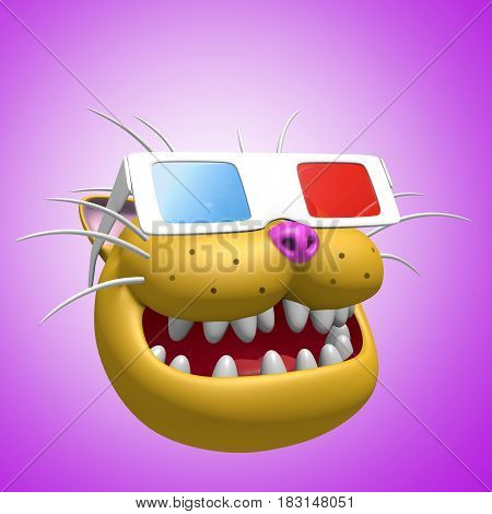 Happy smiling orange cat head in 3d glasses. 3D illustration. Funny cute character. Cheerful pet for web icons and t-shirt.