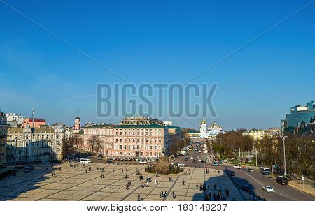 Sofievskaya (Sofia) square located in central Kiev. Space is so called because of St. Sophia Cathedral was built here in 1037