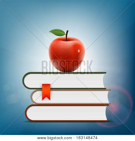 Red apple lying on a pile of books. Stock Vector illustration.