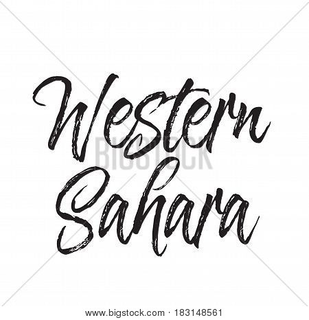 western sahara, text design. Vector calligraphy. Typography poster. Usable as background.