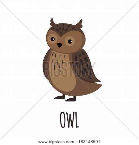 Cute Owl in flat style isolated on white background. Vector illustration. Forest animal. Cartoon owl.