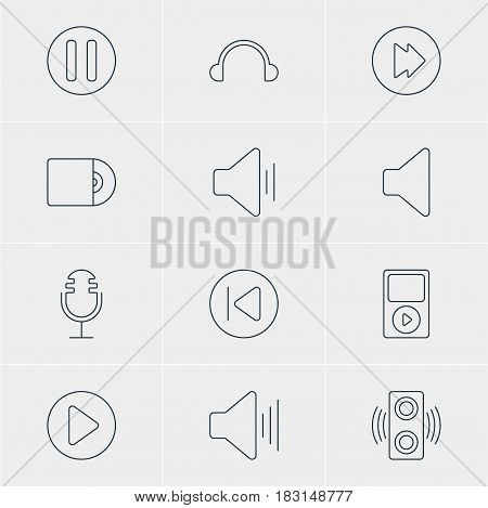 Vector Illustration Of 12 Music Icons. Editable Pack Of Start, Earphone, Mp3 And Other Elements.