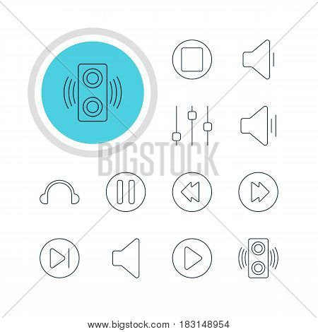 Vector Illustration Of 12 Music Icons. Editable Pack Of Stabilizer, Subsequent, Pause And Other Elements.