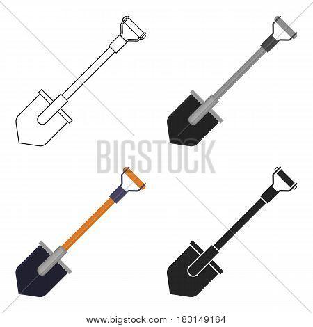 Shovel icon in cartoon style isolated on white background. Mine symbol vector illustration.