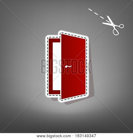 Door sign illustration. Vector. Red icon with for applique from paper with shadow on gray background with scissors.