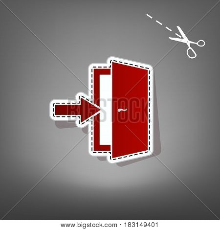 Door Exit sign. Vector. Red icon with for applique from paper with shadow on gray background with scissors.