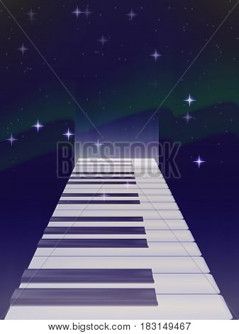 vector road of keys from a piano in the background of the Northern lights. bright stars. the night sky