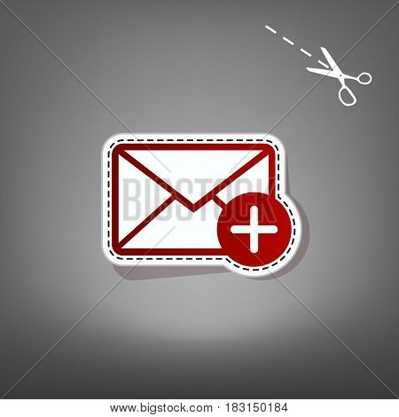 Mail sign illustration with add mark. Vector. Red icon with for applique from paper with shadow on gray background with scissors.