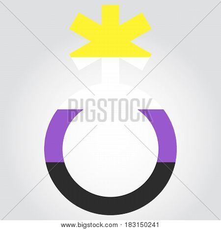 Non-binary Pride Flag In A Form Of Nonbinary Symbol