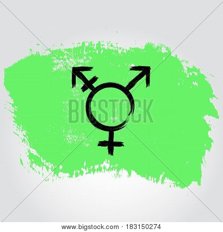Israel Transgender Pride Flag In A Form Of Brush Stroke With Transgender Symbol