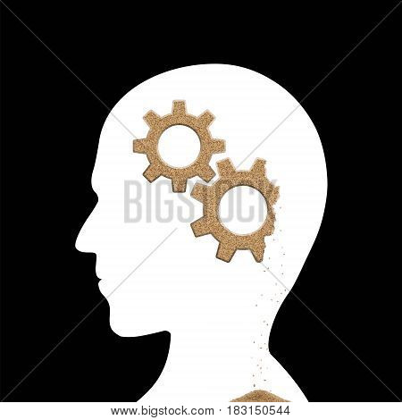 Human head with sand gears inside. Alzheimer's disease. Stock vector illustration.