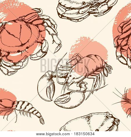 Vector vintage seamless pattern with crab shrimp and lobster