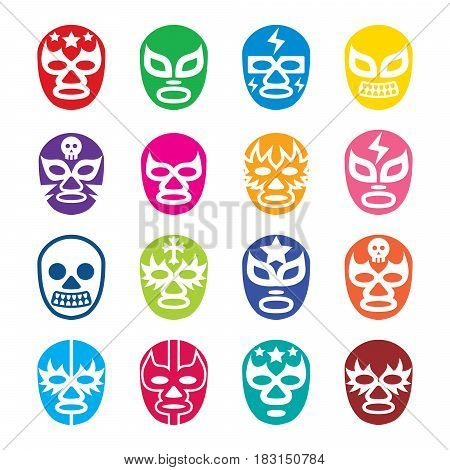 Lucha Libre, Luchador icons, Mexican wrestling masks poster
